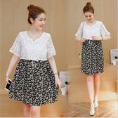 *漂亮小媽咪*韓國 迷人風情 碎花 雪紡 短袖 蕾絲 孕婦洋裝 孕婦裝 喇叭袖 雪紡裙 D1023