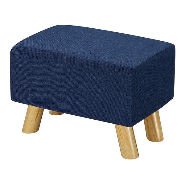 【森可家居】奈德藍色長方凳 8ZX560-2 麻布椅凳 實木腳 北歐風