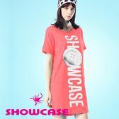 【SHOWCASE】純棉柔感鈕釦印花寬版長T恤/洋裝(粉)