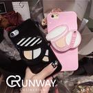 【R】韓 化妝品粉撲粉刷 iPhone 7/8 手機殼 鏡子 iphone7 6 全包 軟殼 保護套
