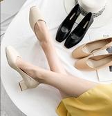 中粗跟鞋 高跟鞋女粗跟新款百搭春季方頭中跟軟皮奶奶鞋裸色春款單鞋【快速出貨八折搶購】