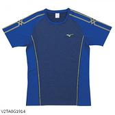 MIZUNO 男裝 女裝 短袖 排球 羽球 吸汗快乾 合身版型 藍【運動世界】V2TA0G1914