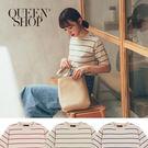 Queen Shop【01012303】橫條紋針織五分袖上衣 三色售*現+預*