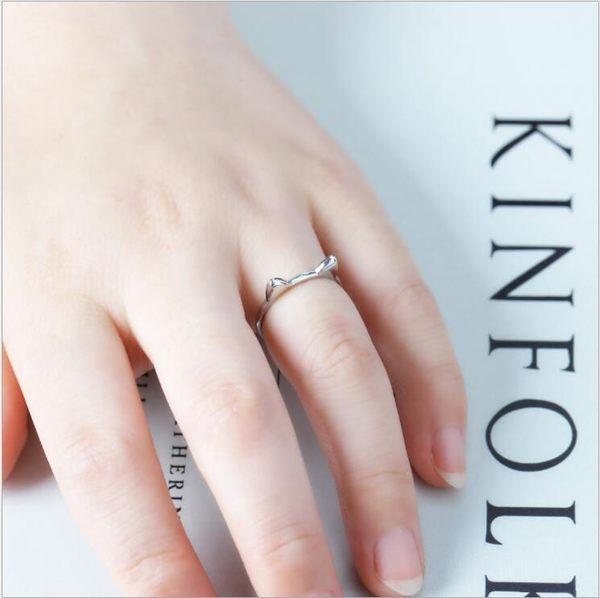 神秘 喵咪 開口 情侶 貓耳朵 開口 戒指 小清新 銀戒指 韓國 飾品