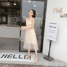 洋裝連身裙春夏韓版甜美裹胸抹胸網紗仙女抹...