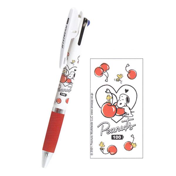 Kamio JETSTREAM 夾式三色溜溜筆 0.5mm SNOOPY史努比 櫻桃滿版_KM10827