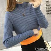 加絨毛衣女新款秋冬裝加厚半高領套頭針織韓版長袖保暖打底衫