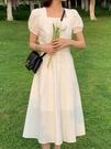 方領洋裝 白色連身裙女夏2021新款溫柔風法式小眾甜美初戀方領顯瘦收腰長裙 晶彩 99免運