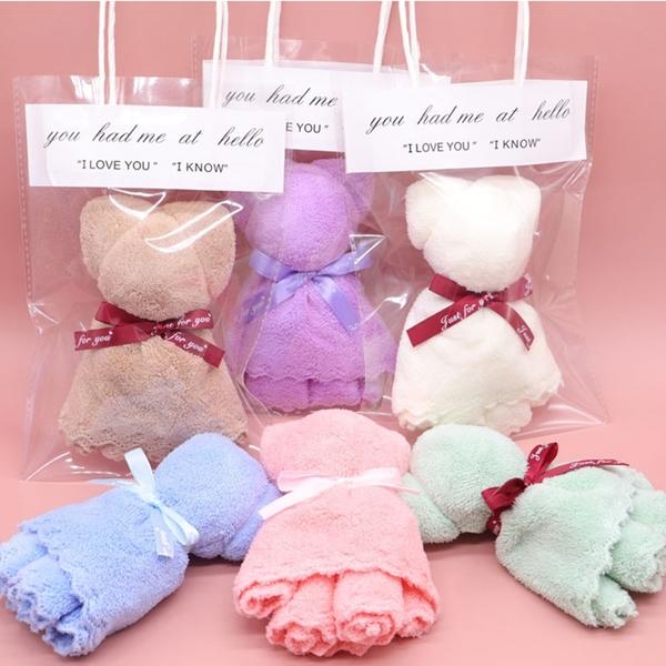 蛋糕毛巾 珊瑚绒毛巾小熊吸水毛巾(手提袋)【庫奇小舖】