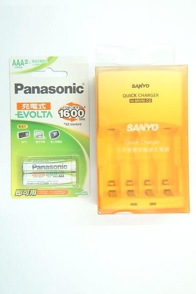 全館免運費【電池天地】SANLUX 三洋智慧型充電器 SYNC-N01 +國際牌 EVOLTA 低自放充電池4號800mah /2入