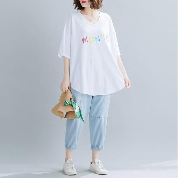 上衣 - A6481 Month字母寬鬆T恤【加大F】