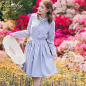 洋裝 素色蝴蝶結壓摺長袖洋裝-Ruby s露比午茶