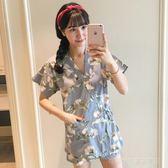 夏季日式和服睡衣女純棉短袖甜美夏天大碼針織棉小清新家居服薄款  Cocoa