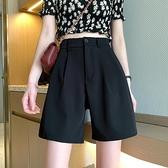 西裝短褲女2021春季新款薄高腰顯瘦百搭寬鬆直筒休閒闊腿垂感褲子 果果輕時尚