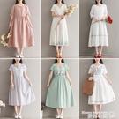 棉麻洋裝 原創設計女裝復古亞麻連身裙女夏季2021新款短袖純色棉麻中長裙子 曼慕