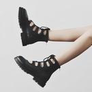 馬丁靴女夏季薄款厚底鏤空涼鞋2020年新款百搭系帶短靴透氣靴子女 快速出貨