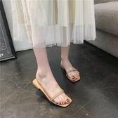 拖鞋女夏外穿2018新款韓版學生粗跟透明帶一字涼拖簡約沙灘羅馬鞋  檸檬衣舍