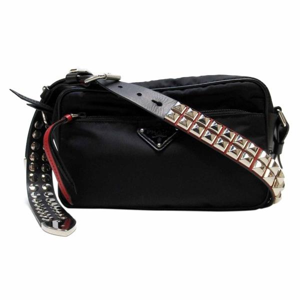 PRADA 普拉達 黑色尼龍鉚釘背帶肩背包 Studded Shoulder Bag 1BC167 【BRAND OFF】