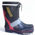 橡膠雨鞋男鋼釘底保暖加絨厚雨靴中高筒防滑釣魚磯釣成人膠鞋水鞋「時尚彩紅屋」