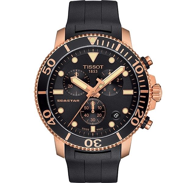 TISSOT 天梭 Seastar 1000 海洋之星300米計時手錶-黑x玫塊金框 T1204173705100