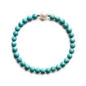 綠松石手鍊-珍珠-清照9K金珠串珠女手環73yl12[時尚巴黎]