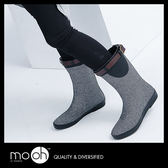 (24hr出貨) 韓國皮帶扣條紋銀色中筒防水雨鞋 時尚軟面中短筒雨靴 mo.oh (韓國鞋款)