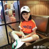 男女童短袖T恤春夏韓版字母後背卡通圖案中長款寬鬆體恤  ◣歐韓時代◥