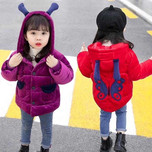女寶寶棉服 新款女寶寶冬裝金絲絨棉衣 女孩加厚洋氣外套 兒童棉襖