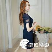 連身裙-夏新款女裝韓版時尚修身氣質拼接打底裙連衣裙女短裙-奇幻樂園