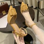 高跟鞋少女細跟2020新款百搭尖頭方扣女鞋性感黑色一字扣仙女單鞋 依凡卡時尚