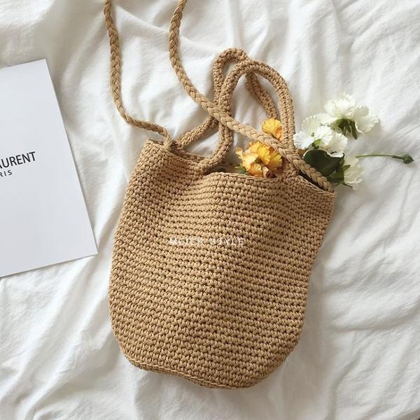 毛線水桶包棉線編織包單肩側背包時尚百搭斜背包手提包【聚可愛】