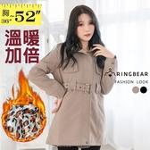 鋪棉外套--軍裝帥氣風味銅釦腰帶立體口袋長版鋪棉大衣外套(黑.可可S-2L)-J137眼圈熊中大尺碼