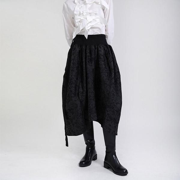設計款緹花鬆緊腰裙子蓬蓬裙斜背吊帶裙褶裙兩穿日系【13-28-81944-21】ibella 艾貝拉
