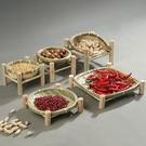 手工竹編乾果盤水果籃竹簍茶點盤創意家用竹筐收納筐籃子圓形簸箕