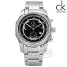 CK / K7731104 / 日系時尚獨特逆跳式三眼計時不鏽鋼手錶 黑色 42mm