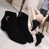 短靴 女鞋靴子秋冬季新款歐美尖頭粗跟中跟磨砂側拉練切爾西靴 - 歐美韓熱銷