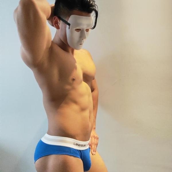 全場促銷九五折 小清新學生男內褲三角褲低腰純色簡約棉內褲衩藍色修身underwear