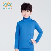 【WIWI】MIT溫灸刷毛高領發熱衣(翡翠藍 童70-150)