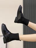 襪靴 馬丁靴女2021新款短靴冬季加絨百搭瘦瘦襪靴韓版百搭小皮鞋英倫風【快速出貨八折下殺】