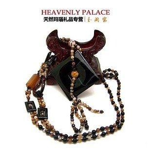 瑪瑙項鏈 水晶毛衣鏈 典雅精致彩晶珠鏈 本命年禮品