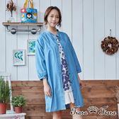【Tiara Tiara】單色長版排釦罩衫洋裝(直紋/單色)