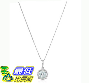 [106美國直購] 鑽石吊墜 10k White Gold Round Aquamarine and Diamond Accent Pendant Necklace