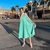 超仙娃娃裙 寬鬆大碼吊帶連身裙 顯瘦海邊度假大擺沙灘長裙