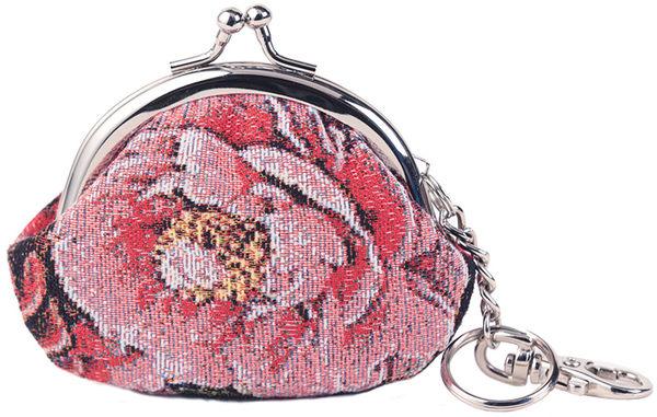 零錢包-復古牡丹織畫緹花小口金零錢包 粉桃-REORE