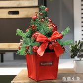 圣誕節小型桌面聖誕樹擺件櫥窗柜臺松針木質迷你圣誕樹裝飾品 DJ1188『毛菇小象』