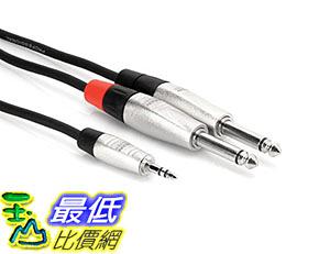 [美國直購] Hosa HMP-010Y REAN 3.5 mm TRS to Dual 1/4 inch TS Pro Stereo Breakout Cable, 10 feet