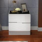 床頭櫃 床邊桌烤漆床頭櫃 簡約現代儲物櫃 臥室床邊小櫃子簡易白色收納櫃【美物居家館】