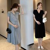 漂亮小媽咪 韓式 法式 優雅 V領 洋裝 【D8426】 純色 莫代爾 親膚 短袖 小洋裝 孕婦裝