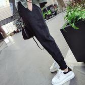 ZUCAS~(GY-3510)側邊螺紋拼接黑色縮口鬆緊腰運動長褲哈倫休閒長褲