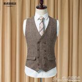 馬甲秋季新款雙排扣修身韓版休閒西裝馬甲男士英倫復古 曼莎時尚